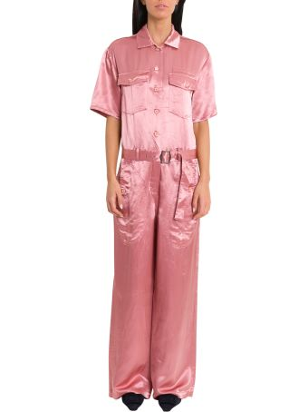 Sies Marjan Washed Satin Button-down Jumpsuit