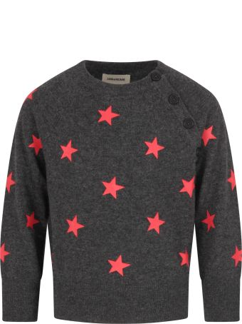 Zadig & Voltaire Grey Sweter For Girl With Red Stars