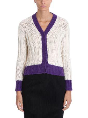 Maison Flaneur White Purple Wool Cardigan  Sweater