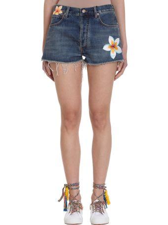 Alanui Hawaiian Print Denim Shorts