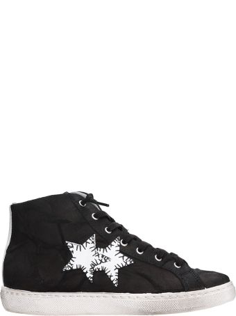 2Star High Black Leather Sneakers