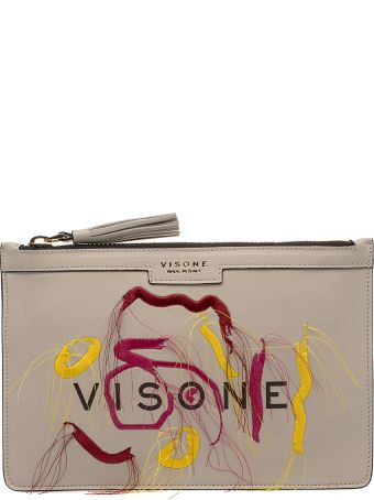 Visone Off White Kim Embroidery Leather Clutch
