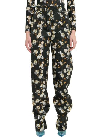 Off-White Cotton Flowers Jogger