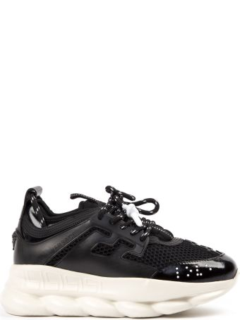 Versace Black Chain Reaction Leather Sneaker