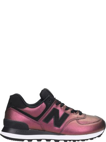 New Balance Violet Laminated Leather 574 Sneakers
