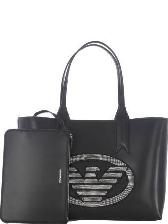 Emporio Armani Logo Studded Shopper Bag