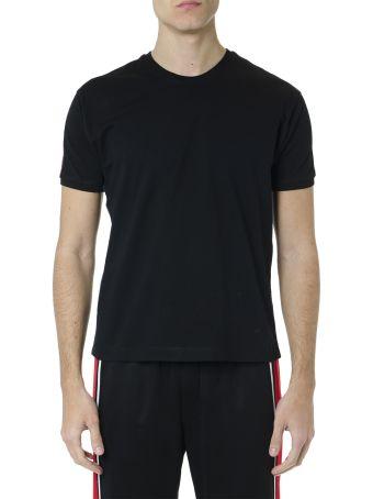 McQ Alexander McQueen T Shirt In Black Cotton With Logo Stripes