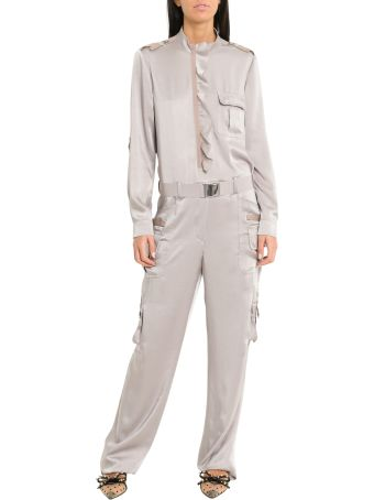 RED Valentino Fluid Satin Cargo Style Jumpsuit With Ruffle