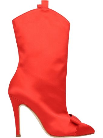 Alessandra Rich Red Satin Ankle Boot