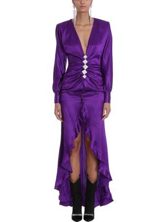 Alessandra Rich Diamond Embellished Silk Dress