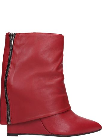 The Seller Red Leather Ankle Boots