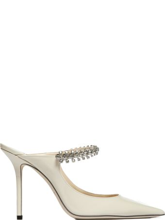 Jimmy Choo Crystal Anklet Patent Mules