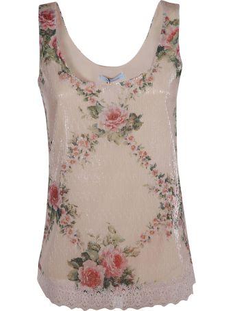Blumarine Floral Print Sleeveless Top