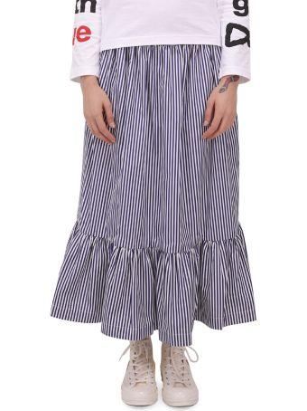 Comme Des Garçons Girl Navy And White Skirt