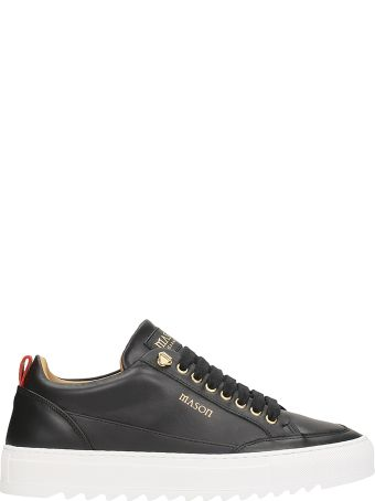 Mason Garments Black Leather Sneakers
