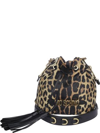 Moschino Leopard Print Bucket Bag