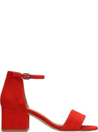 Julie Dee Red Suede Sandals