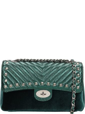 Marc Ellis Green Quilted Leather And Velvet Bryanna M  Bag