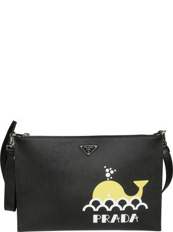 Prada Printed Saffiano Shoulder Bag