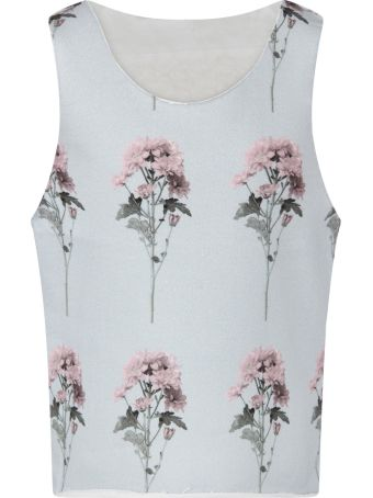 Caroline Bosmans Light Blue Tank For Girl Top With Flowers
