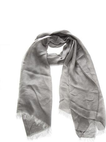 Emporio Armani Grey Linen & Modal Logo Stole