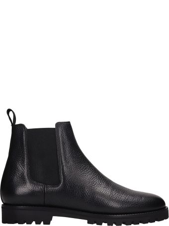 Etq Black Grained Leather Beatles Ankle Boot