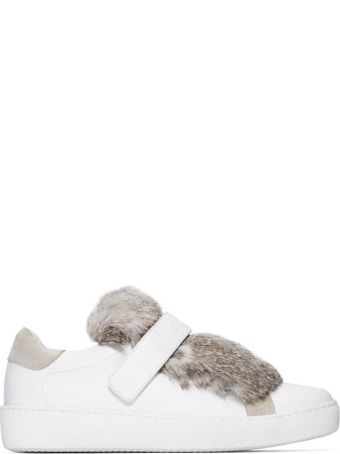 Moncler Lucie Mink Fur Tongue Leather Sneakers