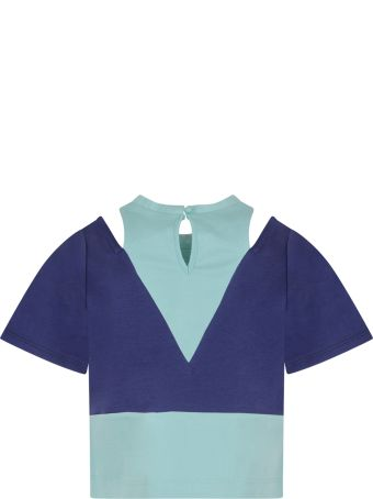 Owa Yurika Blue And Teal Blue ''ema'' T-shirt For Girl With Patch