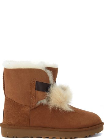 UGG Mini Gita Brown Leather Ankle Boots With Pompon