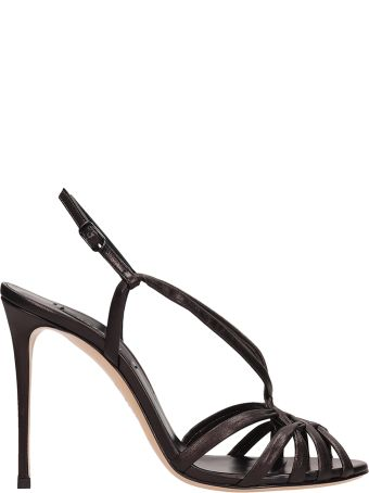 Casadei Black Leather Sandals