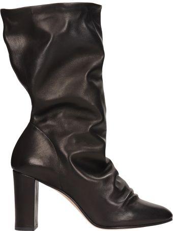 Marc Ellis Black Calf Leather Ankle Boots