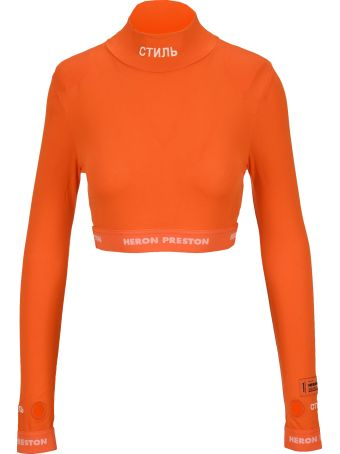 HERON PRESTON Embroidered Logo Cropped T-shirt