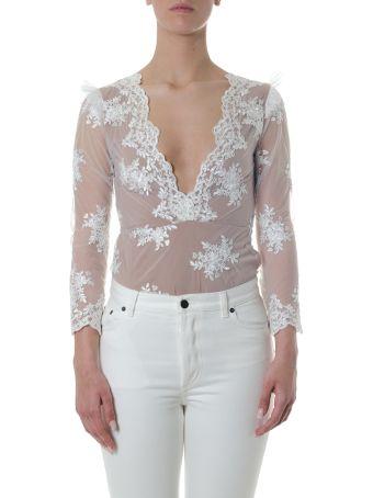 For Love & Lemons Nylon Bodysuit With Embroidered Flowers Details