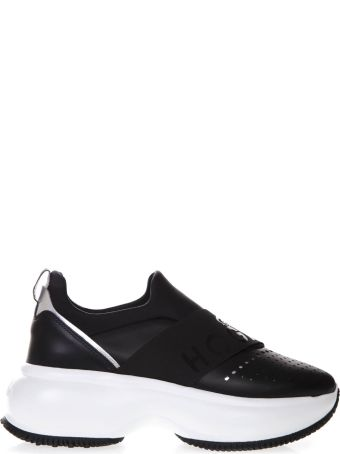 Hogan Maxi I Active Black Leather Slip-on Sneakers