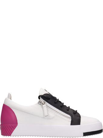Giuseppe Zanotti White-fuchsia Leather Frankie Sneakers