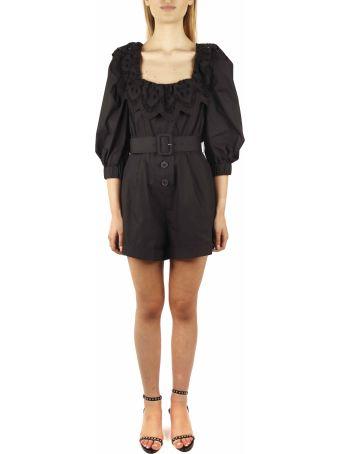self-portrait Short Black Cotton Jumpsuit