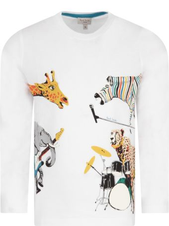 Paul Smith Junior White T-shirt For Boy With Animals