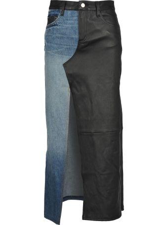 AMIRI Leather Denim Long Skirt