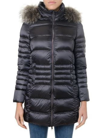 Colmar Spike Nylon Hooded Down Jacket With Real Fur