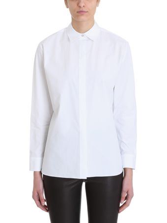 Theory White Cotton Concealed Front Shirt