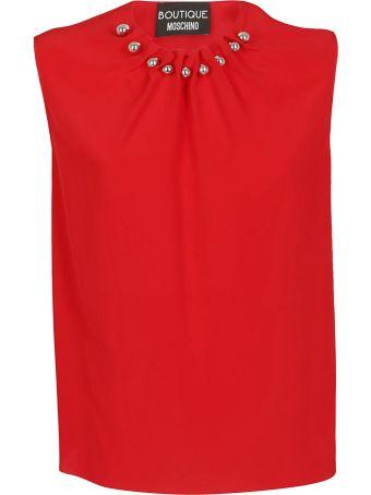 Boutique Moschino Embellished Neck Sleeveless Top