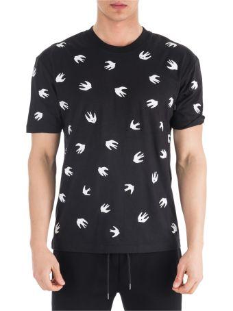 McQ Alexander McQueen  Short Sleeve T-shirt Crew Neckline Jumper Swallow
