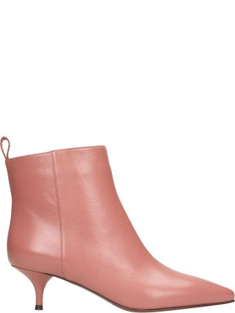 L'Autre Chose Pink Calf Leather Ankle Boots