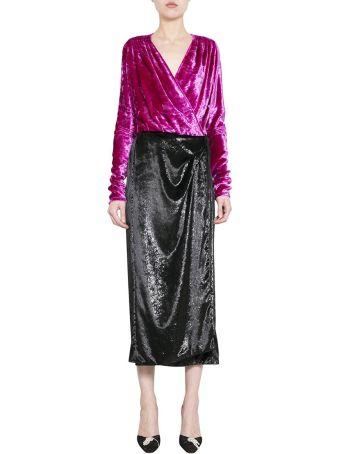 ATTICO Bicolor Velvet Wrap Dress