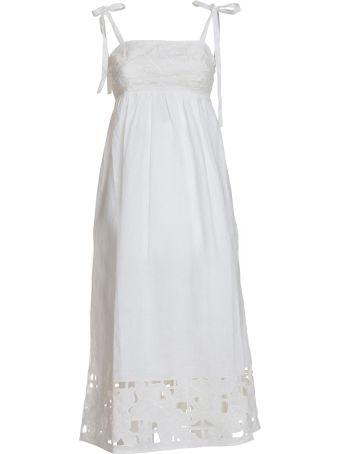 Zimmermann Zimmerman Tie Shoulder Strap Dress In White