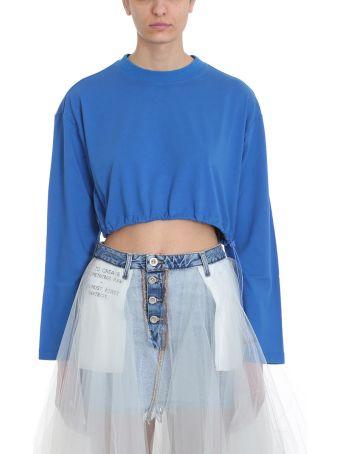 Ben Taverniti Unravel Project Blue Cropped T-shirt