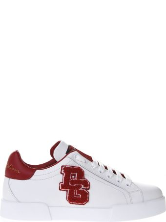 Dolce & Gabbana Red And White Portofino Sneakers In Leather