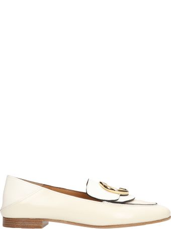 Chloé White Shinny Calf Leather Loafers