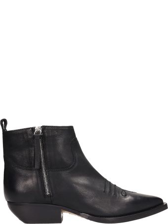 The Seller Black Leather Texan Boots