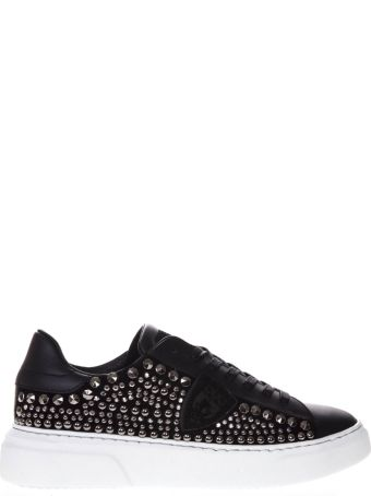 Philippe Model Temple Black Leather Studded Sneakers